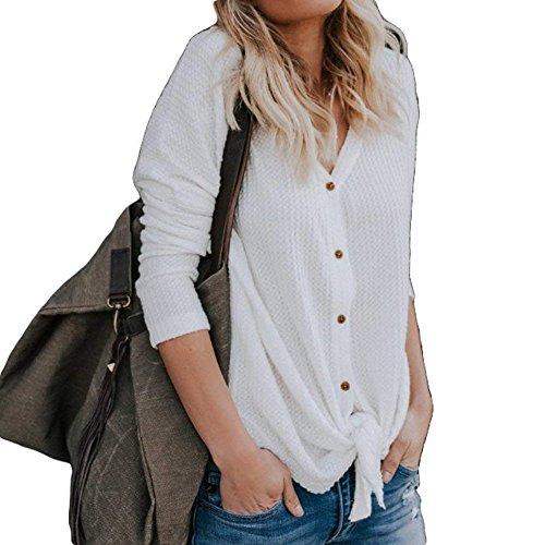 Longues Manteau Neck V Crochet Cardigan Tops Tricot Tricot Femme Manches Blanc Unie Cardigans Femmes Casual Couleur Cardigan OqRgWUwx8
