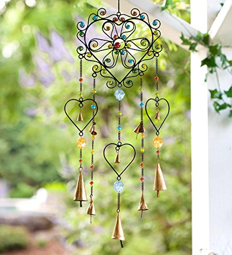 Colorful Heart Wind Chime - 7.5 L x 7.5 W x 23 (Chiming Heart)