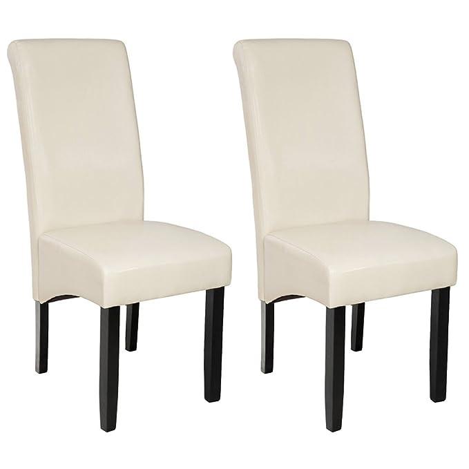 TecTake Juego de 2 sillas de comedor 106 cm - disponible en diferentes colores - (Crema | no. 401295)