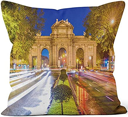 Amazon.com: Nine City Madrid Spain Throw Pillow Cover,HD ...