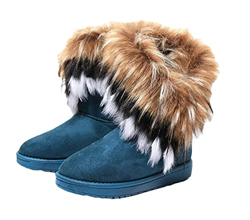 King Ma Women's Faux Fur Tassel Winter Snow Boot Suede Flat Ankle Boots Green