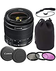 Canon EF-S 18-55mm f/3.5-5.6 is II Lens with Lens Pouch, Commander Optics 3 Piece Filter Kit, Cap Keeper