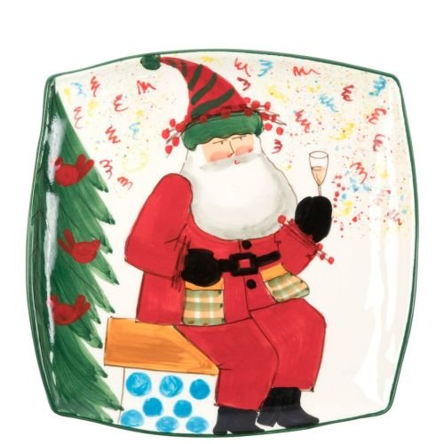 Vietri Old St. Nick 2018 Limited Edition Square Platter, Christmas Toast
