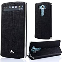"""Sunroyal Denim Leather LG V10 Case Premium PU Window View Full Protection Stand Ultra-thin Folio Case for LG V10 5.7"""" inch Scratch Resistant Shockproof soft Ruber Bumper Case Black"""