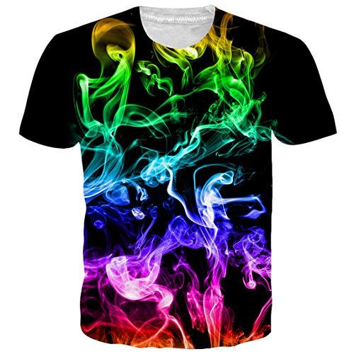 NEWISTAR Teen Boys Girls 3D Printed Colorful Smoke Shirt Cool Short Sleeve Graphic Tees ()