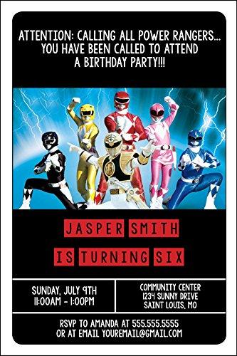 Custom Birthday Party Invitation - Power Rangers, Personalized