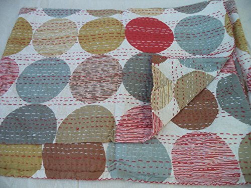 Handmade Pure Cotton Bedspread Queen Size Quilt Polka Dot Print Kantha Stitch Kantha Quilt Indian Bed Cover Reversible Throw Orange Quilt