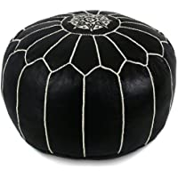 IKRAM DESIGN Moroccan Pouf with White Stitches, 20-Inch by 13-Inch, Black