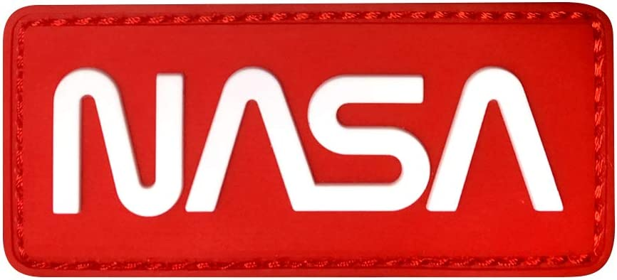 MORTHOME NASA Worm Logo Space Tactical Military Morale PVC Rubber Patch (White/Red)