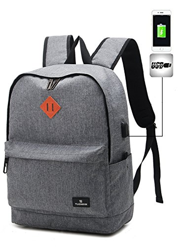 TUOWAN Canvas School Backpack 15.6 inch Laptop Travel Bag with USB Charging Port