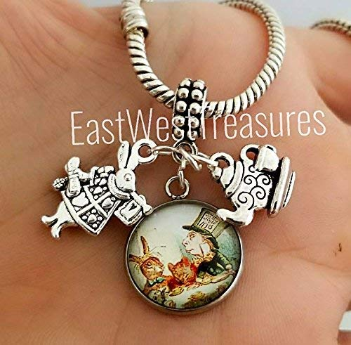 EWT Alice In Wonderland, Mad hatter, Tea Party, white rabbit charm Pendant - for bracelets or necklaces by EastWest Treasures