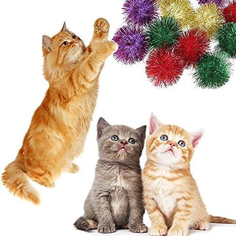 Broadroot 12 pelotas de sonido para gato y gato resistentes a los ácaros de peluche, juguetes interactivos de 40 cm: Amazon.es: Productos para mascotas