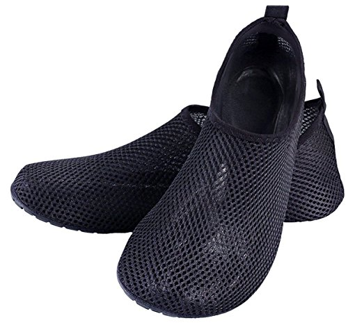 LOUECHY Unisex Feinin Mesh Schwimmen Wasser Socken Atmungs Barfuß Haut Schuhe Leichte Yoga Sandalen Indoor Fitness Schuh Schnell Trocknend Surf Wasser Schuhe Bootfahren Schwarz