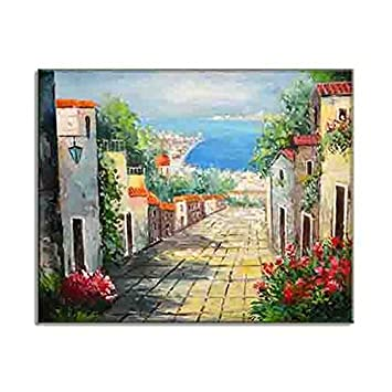 Artisan Home Decor Mediterranean Village And SeaSide Sceneries HD Canvas  Prints Elegant Oil Paintings Classic Stylish