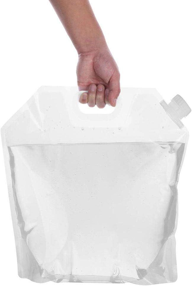 Paquete de 4 bolsas contenedor plegables port/átiles al aire libre,Botella plegable congelable sin fugas,Tanque portador pl/ástico transparente calidad alimentaria acampar senderismo mochila emergencia