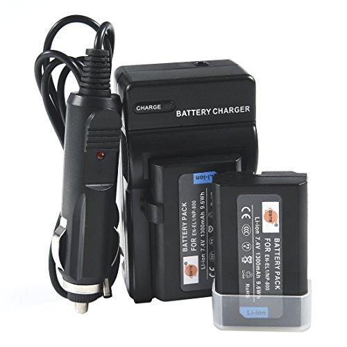 (DSTE Replacement for 2X EN-EL1 Battery + DC09 Travel and Car Charger Adapter Compatible Nikon Coolpix 4300 4500 4800 5700 8700 880 885 99 E880 Konica Minolta DG-5W Dimage A200 as NP-800)