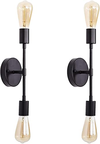 SaiPIS Wall Sconce Bathroom Vanity Light Fixture Mirror Wall Lights Industrial Metal Wall Lamp Modern Sconces Set of Two… (Set of 2 (Black))