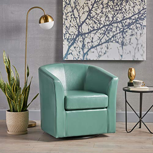 Great Deal Furniture Corley Leather Swivel Club Chair in Turquoise