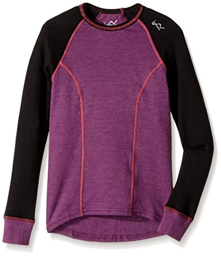 Watson's Girl's Double Layer Long Sleeve Top, Heather Purple/Black, Large