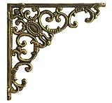 Import Wholesales Shelf Bracket Ornate Curls Decorative Gold Cast Iron Wall Brace 7.75'' Deep