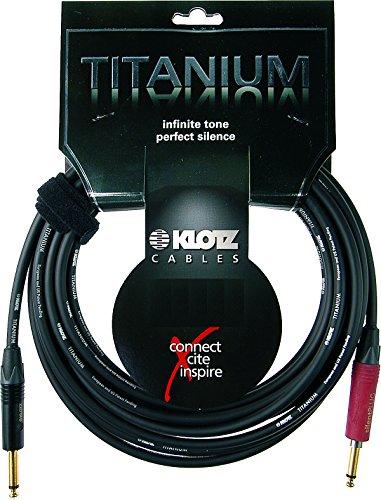 High End Guitar Cable - Klotz Ustis0150 Titanium High End Guitar Cable 15ft : 2x Jack 2p. (Gold) Straight - Silent