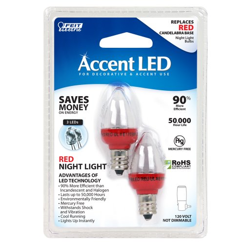 Night Light Red Bulb (Feit Electric BPC7/R/LED LED Replacement Night Light, Red)