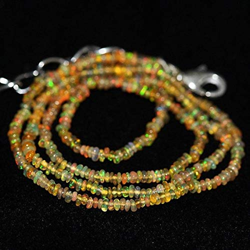 Beads Bazar Natural Beautiful jewellery Ethiopian Welo Fire Opal Smooth Rondelle Micro Gemstone Craft Loose Beads Necklace 16