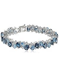 "Sterling Silver Tonal Blue and White Topaz Bracelet, 7.25"""