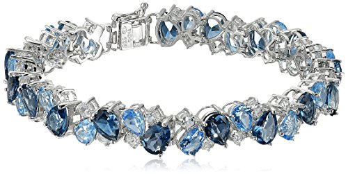 (Sterling Silver Tonal Blue and White Topaz Bracelet, 7.25
