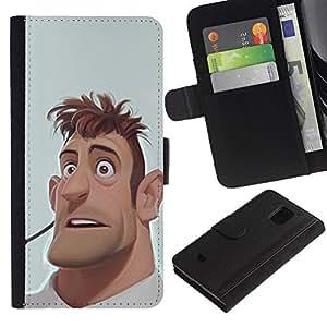 Be Good Phone Accessory // Caso del tirón Billetera de Cuero Titular de la tarjeta Carcasa Funda de Protección para Samsung Galaxy S5 Mini, SM-G800, NOT S5 REGULAR! // man portrait cgi computer graphics