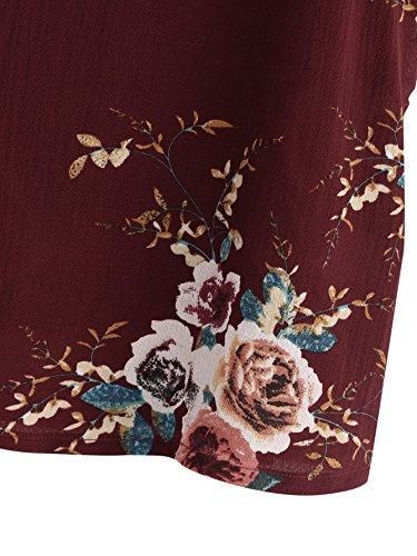 en Bretelle Col Blouse DIDK Dentelle Manche Bordeaux Dentell sans Femme Floral Top Imprim Fleuri V avec Blouse Vacances Camisole Top Top Rouge Z68Zqw0x