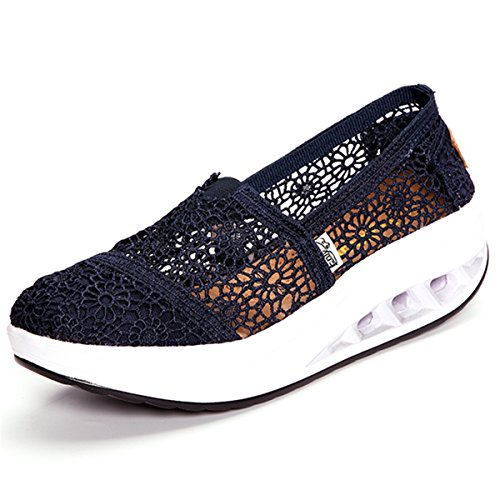 (gracosy Slip-On Athletic Walking Platform Shoes,Women's Lace Breathable Rocker Sole Shake Running Sneaker Black 7.5 B(M) US)
