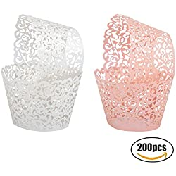 Seamersey 200pcs 2 Colors Cupcake Wrappers Filigree Artistic Bake Cake Paper Cups Little Vine Lace Laser Cut Liner Baking Cup Muffin Holders Case Trays for Wedding Party Birthday Decoration