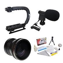 Extreme Shooters Kit Featuring Opteka HD .20x Professional Super AF Fisheye Lens, Opteka X-GRIP Professional Camera Handle, Opteka VM-8 Mini-Shotgun Microphone and More for Nikon D4, D3X, D3, D800, D700, D300S, D300, D90, D60, D40, D7000, D5200, D5100, D5000, D3200, D3100 and D3000 Digital SLR Cameras