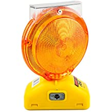 RK Safety BLIGHT-ST Solar Rechargeable Barricade Amber LED Warning Lights   Traffic signal Flashing 2-Sided Visibility, Type A/C, 3-Way Operation Switch   W/ Switch Pin and Bolt
