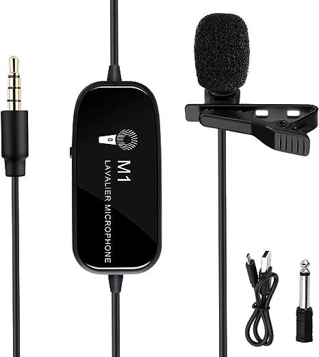 K&F Concept Micrófono de Solapa Clip-on Recargable con Conector 3 ...