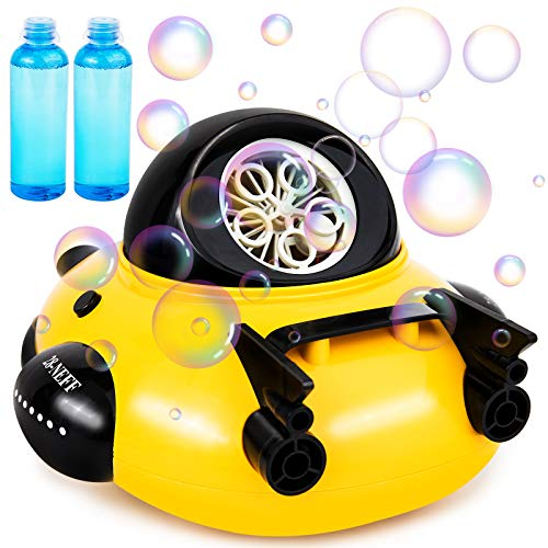 Foayex Bubble Machine Spaceship Bubble Blower 500+ Bubbles Per Minute, Bubble Maker with 2x100ml Solution, Automatic Bubble Machine for Boys Girls Age 3+, Bath Toys for Indoor Outdoor