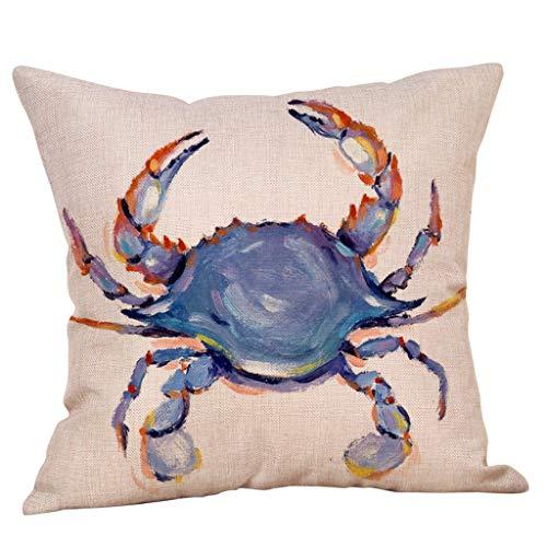 Joopee Cotton Linen Square Throw Pillowcase Underwater Sea Life Abstract Animal Aquatic Beautiful Sofa Waist Cushion Cover Home Deco Decorative Case Sofa Bedroom (G)