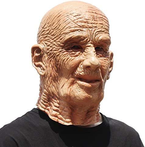 PartyHop - Old Man Mask - Realistic Halloween Latex Human Wrinkle Face Mask Brown
