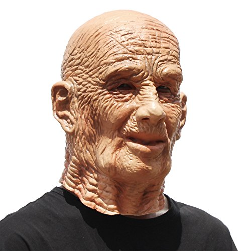 PartyCostume - Old Man Mask - Realistic Halloween Latex Human Wrinkle Face -