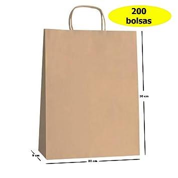 Yearol K03. 200 Bolsas papel kraft con asas. 30 * 22 * 9. Especial para regalos, comercio, compra, venta, manualidades, embalaje, transporte.