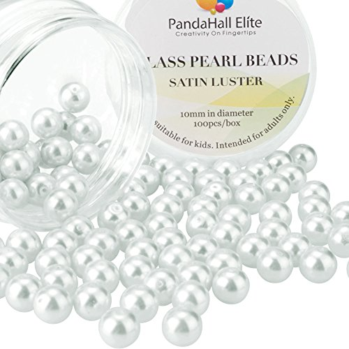 Freshwater Pearls And Glass Bead Necklace - PandaHall Elite 10mm About 100Pcs Tiny Satin Luster Glass Pearl Round Beads Assortment Lot for Jewelry Making Round Box Kit White