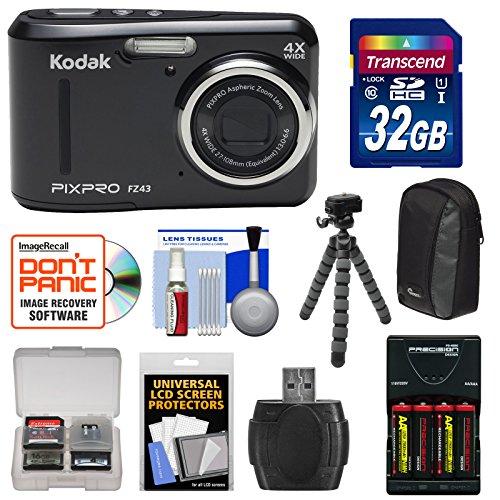 KODAK PIXPRO Friendly Zoom FZ43 Digital Camera (Black) with 32GB Card + Batteries & Charger + Case + Flex Tripod + Kit
