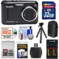 KODAK PIXPRO Friendly Zoom FZ43 Digital Camera (Black) with 32GB Card + Batteries & Charger + Case + Flex Tripod + Kit
