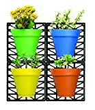 Ideaworks Wall-Mount Planter Set – Decorate Wall with Real Plants – Includes 4 Wall Mounts & 4 Planters – Great for Indoor & Outdoor Walls – Includes Installation Hardware, Multi-Colored,  For Sale