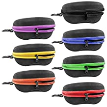 InnoLife Zipper Shell Sunglasses Case 7pcs in Mixed Colors wth. Belt Loop and Clip