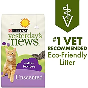 Purina Yesterday's News Non Clumping Paper Cat Litter, Softer Texture Unscented Cat Litter - 26.4 lb. Bag