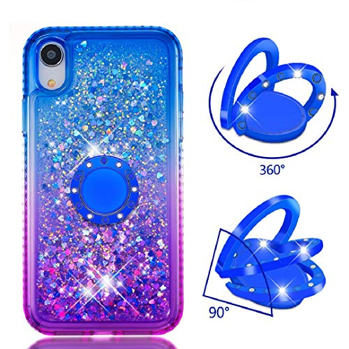 Amazon.com: iPhone XR 6.1 Finger Ring Case, Gradient Glitter ...