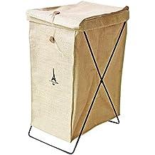 Caroeas Collapsible Natural Linen Burlap Laundry Basket Storage Basket on Metal Wire Stand Foldable Laundry Bag Waterproof Organizer Bin Laundry Sorter