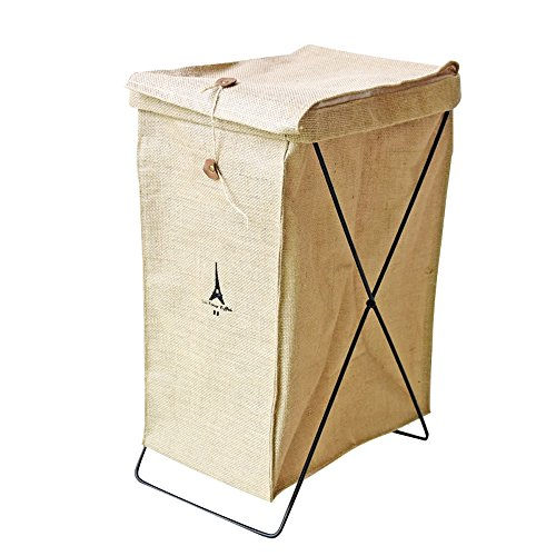Caroeas Collapsible Natural Linen Burlap Laundry Basket Storage Basket on Metal Wire Stand Foldable Laundry Bag Waterproof Organizer Bin Laundry Sorter ()